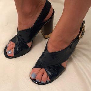 Chloe patent leather metallic heels